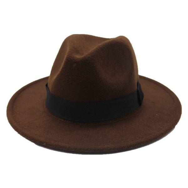 oZyc 2018 new Spring Wide Brim Fedora Men Women Vintage Jazz Hats Fashion Stars Wool felt hat Unisex Black Felt Bowler Trilby D19011103