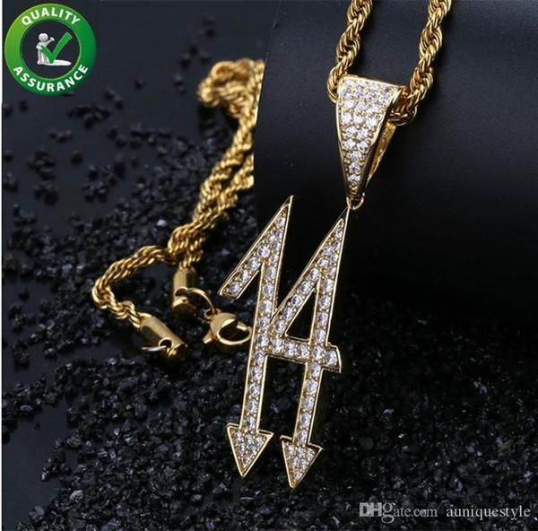 Hip Hop Bijoux Glacé Out Mens Chaîne En Or Pendentifs Designer Collier Micro Pavé CZ De Luxe Accessoires De Mariage pour Hommes De Mode Nombre Charm