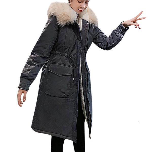 Le donne delle lane di modo Zipper Pocket con cappuccio con coulisse lunghe giacche Outwear Coat casaco feminino cappotto di versione coreana delle donne lungo cappotto DT191025