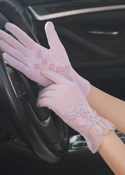Kadınlar için yeni güneş koruyucu eldiven yaz ultraviyole koruma için sürüş ince kısa dokunmatik ekran dantel buz eldiven