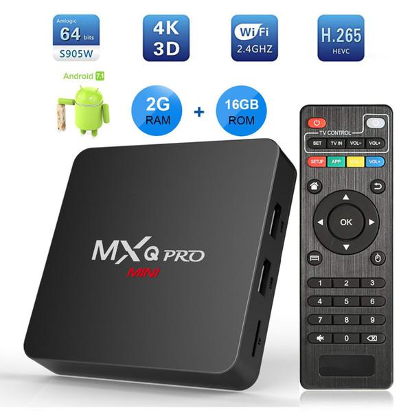 MXQ PRO mini 4K Android 7.1 Smart TV Box Amlogic S905W Quad Core 2GB 16GB set top box 2.4G WiFi Media Player PK X96mini tx3 mini