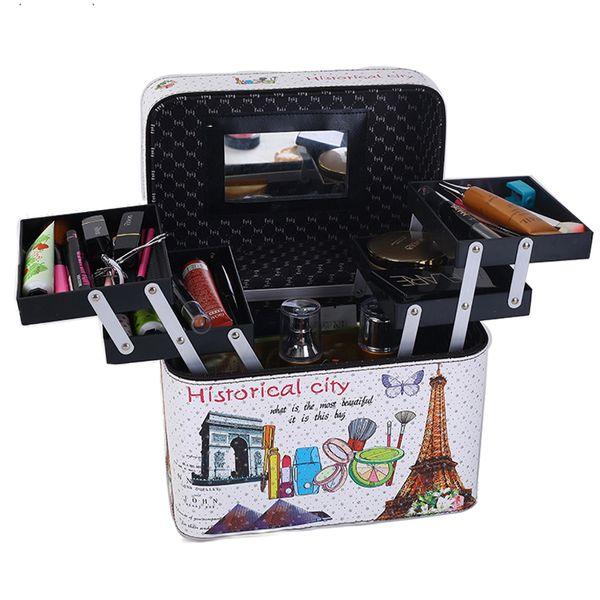 2019 New Women Fashion Cosmetic Bag Makeup Bag Travel Organizer Professional Make Up Box Large Capacity Storage Bags Suitcase