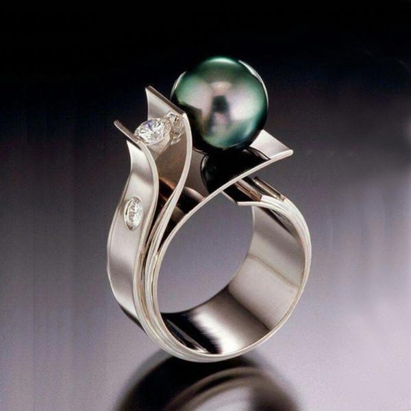 Luxo Anéis Pérola clássico por Mulheres festa de jóias presentes preto pérolas de água doce Jóias Atacado