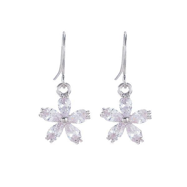 Nouvelles boucles d'oreilles de mode pour les femmes Vintag élégante fleur argent strass Long Drop boucles d'oreilles pour les femmes 2018 Bijoux Bijoux cadeau de fête
