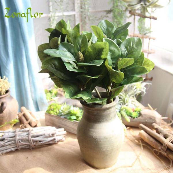 Zonaflor Artificial Flower Simulated Magnolia Leaf Bouquet Home Decor Garden Plant Marriage Party Fake Flower Wedding Decoration