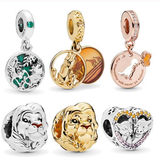 2019 nueva llegada 925 cuentas de plata esterlina el rey león Simba Mufasa encantos aptos para pulseras originales de Pandora mujeres joyería de bricolaje moda