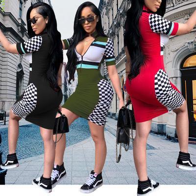 Womens Designer Vestido Sexy Zipper Com Decote Em V Vestidos Estilo Moda Festa Xadrez Skinny Roupas Casuais Listrado Bodycon para Senhoras 2019 Verão