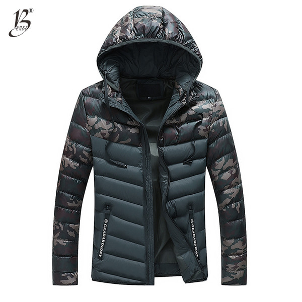 Bumpybeast Winter Jacket Men 2018 camouflage Patchwork Thick Hooded Jackets Parka Male Slim Removable hat Coat Asia size 3XL