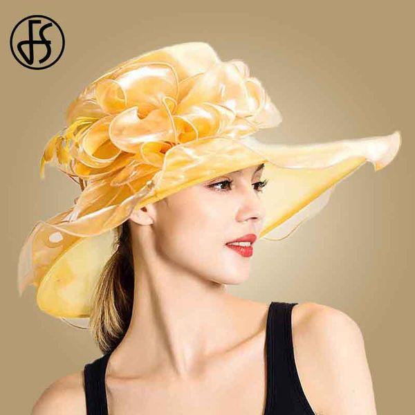 FS 2019 New Flower Sun Hat Large Wide Brim Fedora Beach Ladies Wedding Foldable Summer Hats For Women