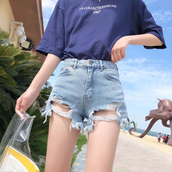 Sexy Knopfloch Jeans Shorts Damen EuroAmerican Street Photo Sommer Newstyle Furedged Hipexposed Hot Pants Jeans Trend