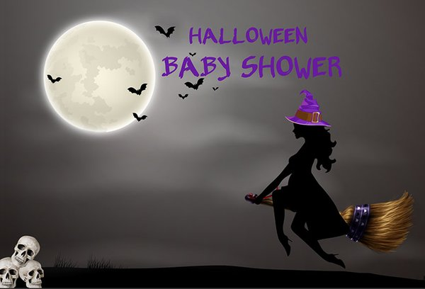 7x5ft Hallowen Moon Night Bats Skull Witch Baby Shower Party Custom Photo Background Backdrop Vinyl 220cm x 150cm