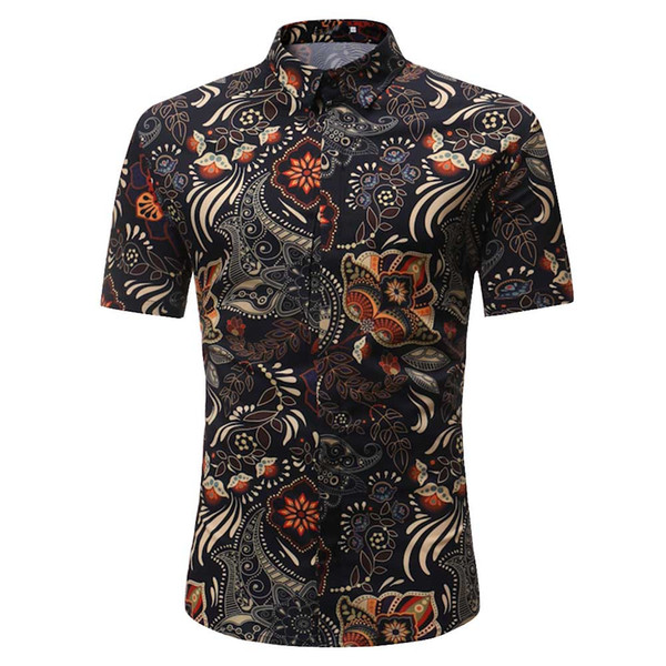 Personality Men's Casual Slim Short Sleeve Printed Shirt Top Blouse 2019 summer