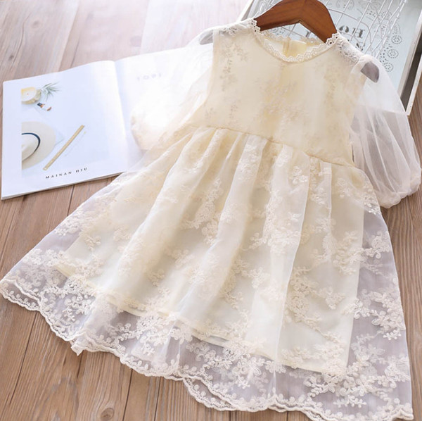 Girls organza princess dress lace gauze floral kids embroidery tutu dress lace collar transparent sleeve children party dress