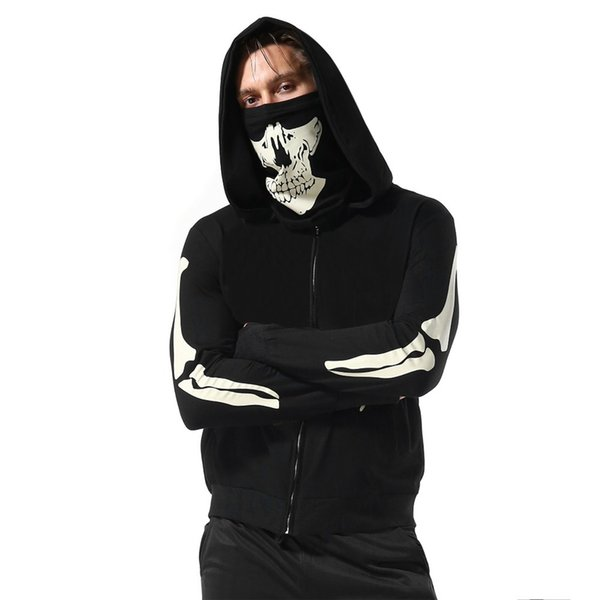 Mens Mask Skull Pure Color Pullover Long Sleeve Hooded Sweatshirt Tops Blouse To