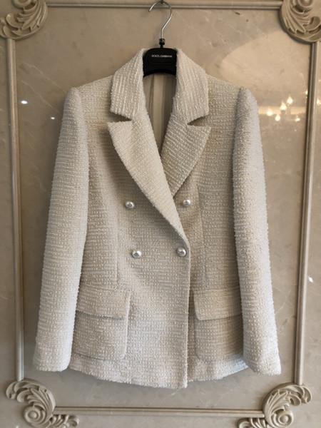 2019 Song Qijiang Shuyin metri donna in tweed di lana bianca grezza