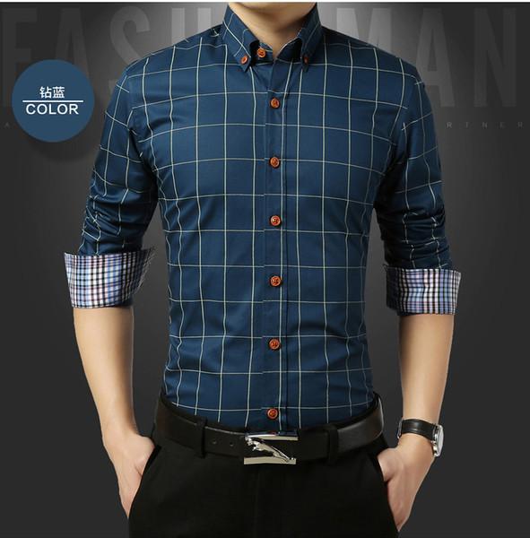 2019 Camicia Uomo Plaid No Pocket Slim a maniche lunghe Casual Plus Size Dress Shirt Imported-abbigliamento Abiti Mens