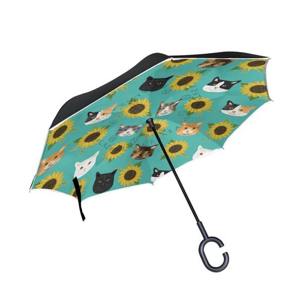 Susino Reverse Umbrella Chuva Umbrella Com C-Shaped Handle Women Men Upside Down Ladies Preto Para Chuva Iluminação