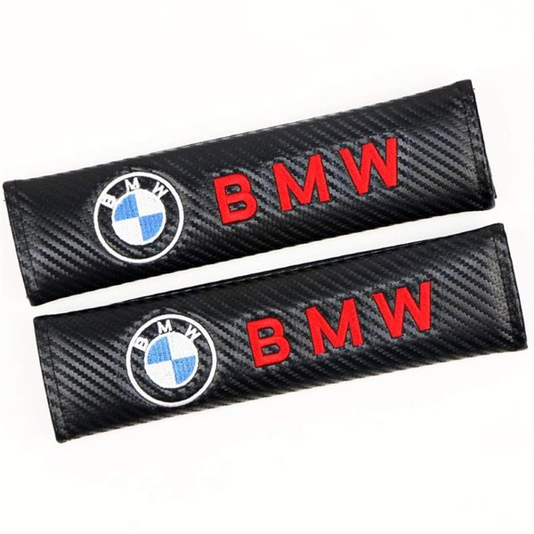 1 Pair Carbon Fiber Racing Sports Style Car Seat Belt Cover Shoulder Pads for BMW