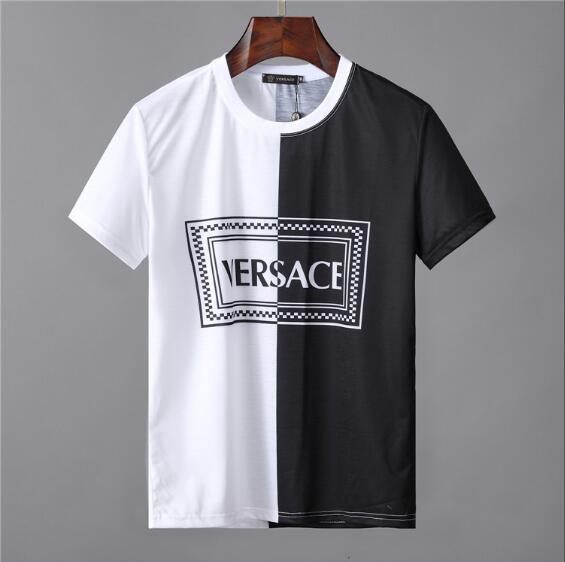 2019 Marka Tasarım Yaz Sokak Giyim Avrupa Moda Erkekler Yüksek Kaliteli Pamuk Tshirt Casual Kısa Kollu Tee T-shirt # 9291