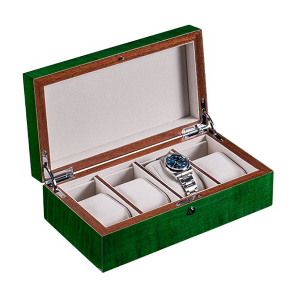 2019 New Green Wood Storage Boxes Case Piano Baking Paint Mechanical High Light Watch Display Cases Box B0182-212