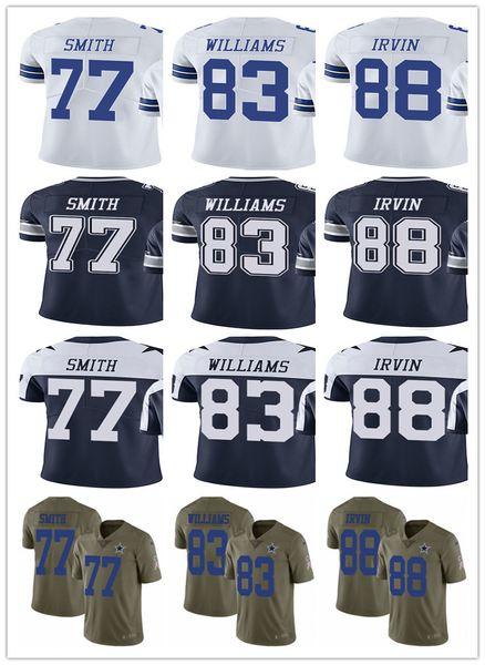 Men's Women's Youth Dallas 88 Michael Irvin 83 Terrance Williams 77 Tyron Smith Navy White Custom Cowboys Football Jerseys