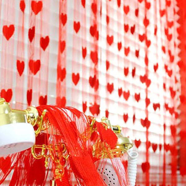 100*200cm Romantic Peach Heart Line Curtain Wedding /Love Curtains Living Room Partition Decorative Curtain Hanging