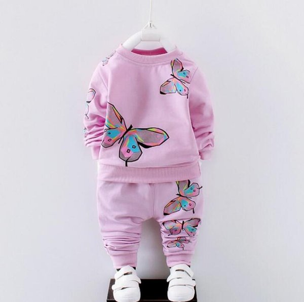 Kids clothes 2017 autumn kids Butterfly clothes set long sleeve top+pants 2 pcs cotton outfit clothes
