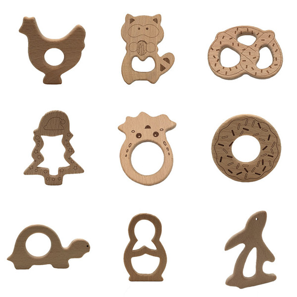 100pcs Lovely Wooden Teether Pure Natural Cartoon Animal Baby Teething Care Beech Teether Toddle DIY Chew Necklace Pendant Toy