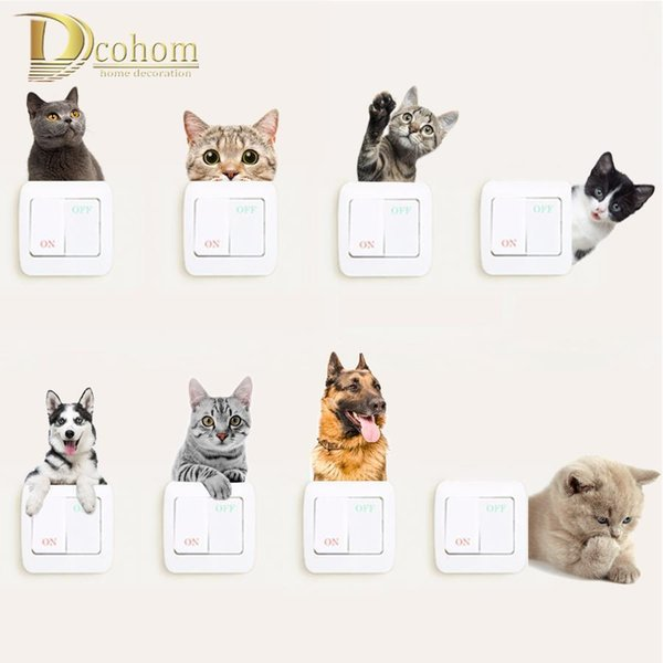 Vivid Animals Cats Dog Light Switch 3d Wall Stickers Toilet Sticker Kids Room Decoration Personality Poster Vinyl Kitchen Decals D19011702