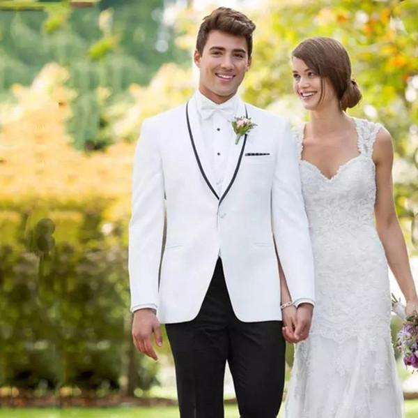 Latest Designs White Shawl Lapel Men Suits Wedding Suits Groom Wear Formal Tuxedos Custom Made Slim Fit Best Man Blazer Prom Jacket+Pant