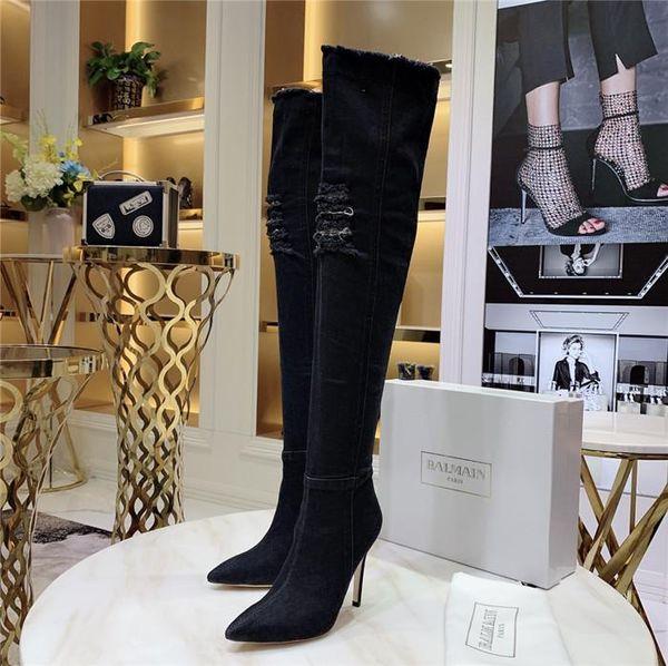 Hot Sale-Jean Boots Damen Overknee High Boots, High Elastic Overknee High Bottes mit Löchern Blue Heels Zipper Denim Jeans Absatzhöhe 11 cm