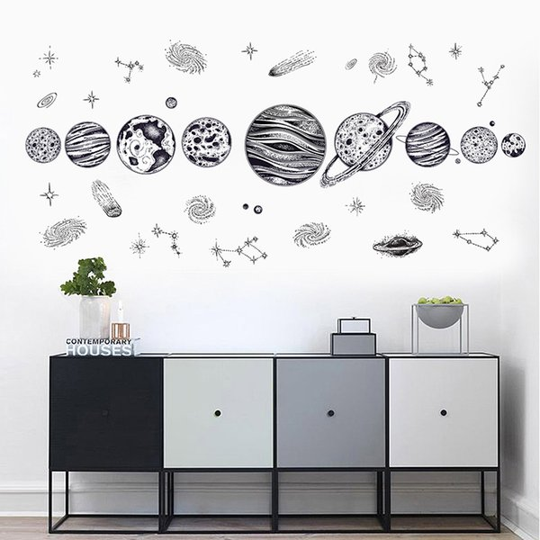 Compre Vinilos Decorativos Solares Engomadas De La Pared Del Sistema De Dibujos Animados Para Cuartos De Los Niños Estrellas Universo Espacio Planetas