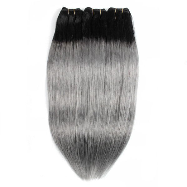 Ombre Human Hair Bundles Color 1B Dark Grey /Silver /Pink Peruvian Straight Hair 3 or 4 Bundles 10-18 Inch Remy Human Hair extensions