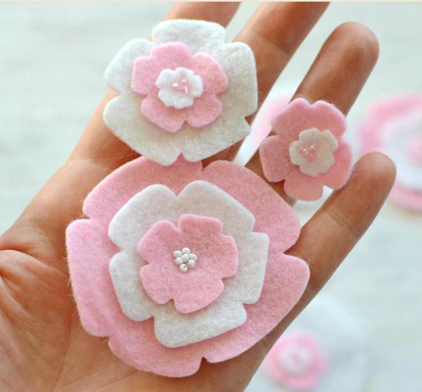 Kesme çiçekler, keçe çiçek aplikler, kumaş çiçekler, keçe aplikler, çiçek yamalar, sahte çiçekler Bebek Saç Aksesuarları