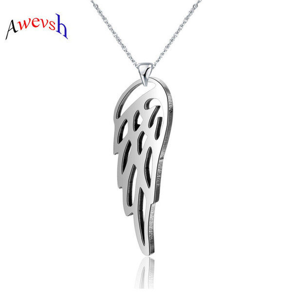 Awevsh New Fashion Angel Wings 2019 new hot sale Pendants Cross Chain Hollow Short Long Men Women Silver Necklace Jewelry Gift