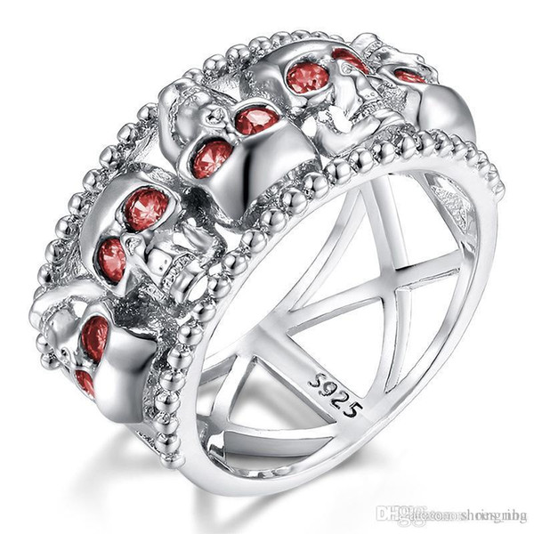 Nlm99Luxury Hip hop human skeleton Crystal anniversary Skull Gem sapphire Ring Women Men SkeletonRing Brithday promotion Gift Trendy Jewelry