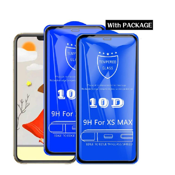 10pcs/lot Tempered Glass For iPhone XS Max XR X 8 7 6S plus Screen Protector Film Glass Full Cover 10d Retail package+Clean set