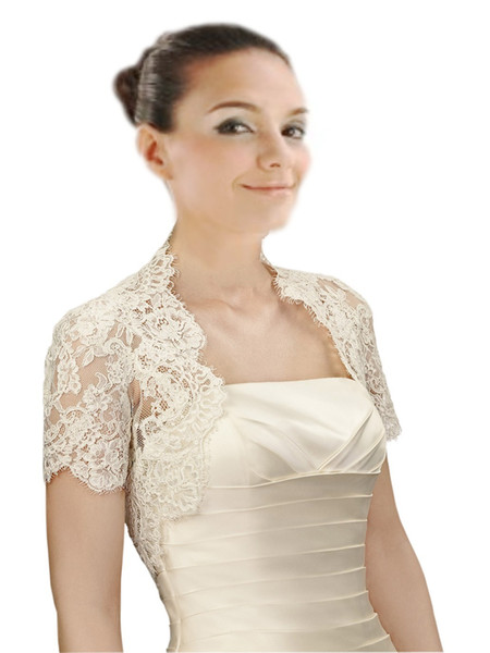 2019 Chic Short Sleeves Wedding Bridal Jackets Bolero White Ivory High Quality Free Shipping Wedding Wrap For Wedding Dress Gowns Plus size