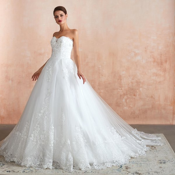 2020 Elegant Cheap White Strapless Wedding Reception Dresses robe marriage Lace Long Bridal Ball Gown Sequins Bride Dress 39367