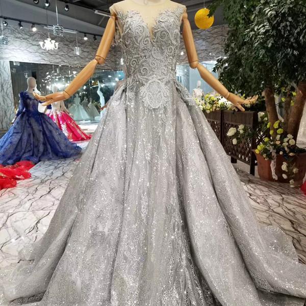 Grigio Abiti da sera da donna Lungo O Neck senza maniche A-Line Vestito da donna Occasioni Semplice Elegante Madre di Prom Dress 2019 Newest Design Dubai