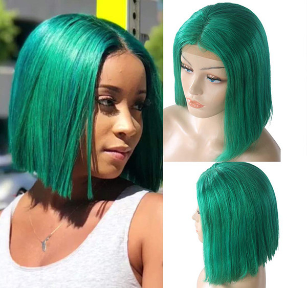 """Green Lace Front Bob wig Straight 14"""" Green Glueless Human Hair Pre Plucked Short Cut Pervian Virgin Hair 180% Density 13x4 Lace Frontal"""