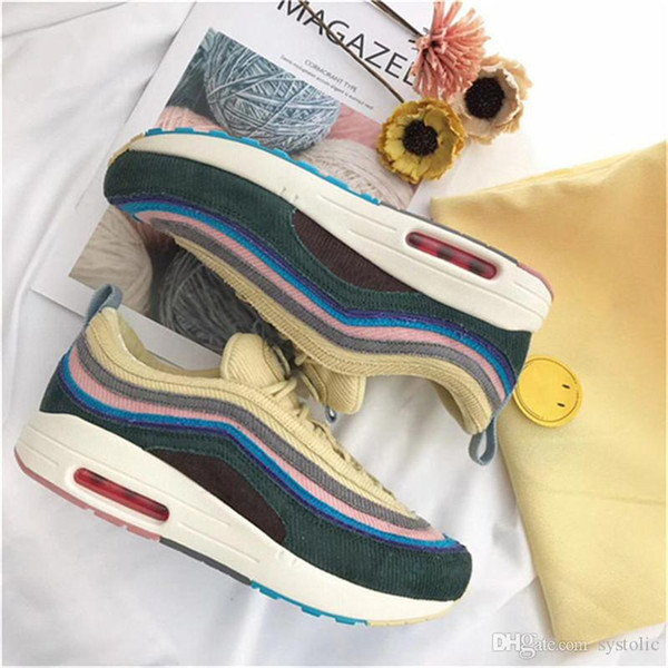 Hottest Sean Wotherspoon x 1/97 VF SW Hybrid 97 Running Shoes For Men Women Corduroy Rainbow Authentic Sneakers With Original Box