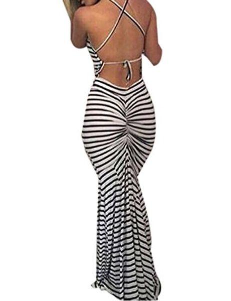 Famulily sexy vestido largo sin espalda a rayas de Bodycon sin espalda en rayas de cebra