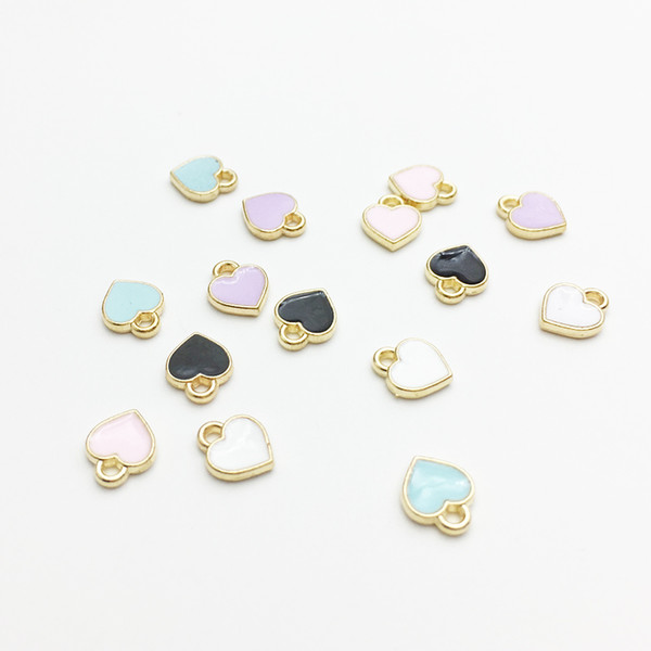 Fashion Small Heart Shape Charms 7x8mm Gold Tone Oil Drop DIY Bracelet Floating Charms Jewelry Making Findings Wholesale 100pcs/lot