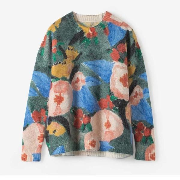 2019 Outono e Inverno Nova pintura a óleo de impressão a cores soltas e suéter de lã fina malha