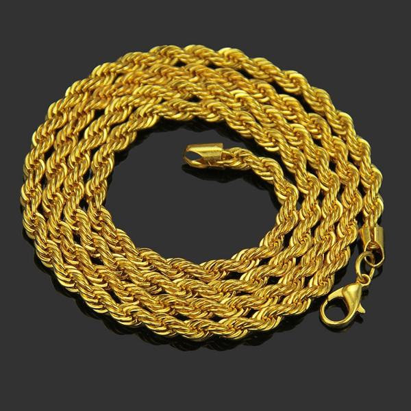 20 pçs / lote, o Melhor vendedor Torcida torção cadeia Colar 4mm de largura 18 K banhado a ouro Material Da Liga Colar Não se desvanece Hip hop Colar, 16 ~ 30 polegada