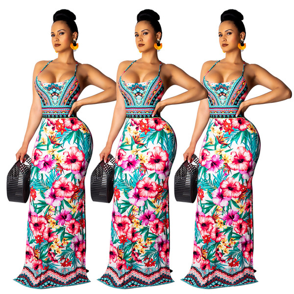 793c91e86 2019 Boho Ethnic Floral Print Maxi Dresses Women Sexy Spaghetti Straps Back Lace  Up Hollow Out