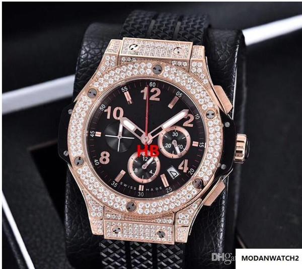 Dell'orologio di lusso del Mens Brand New BigBang 44mm Evolution Elastico della vigilanza del diamante della vigilanza del quarzo Mens Watch Men039; s Watches