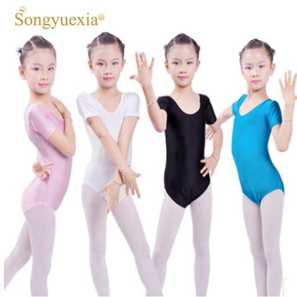 2017 mädchen ballett body kinder blau weiß dance trikot kurzarm gymnastik tragen kinder ballett dancewear overall