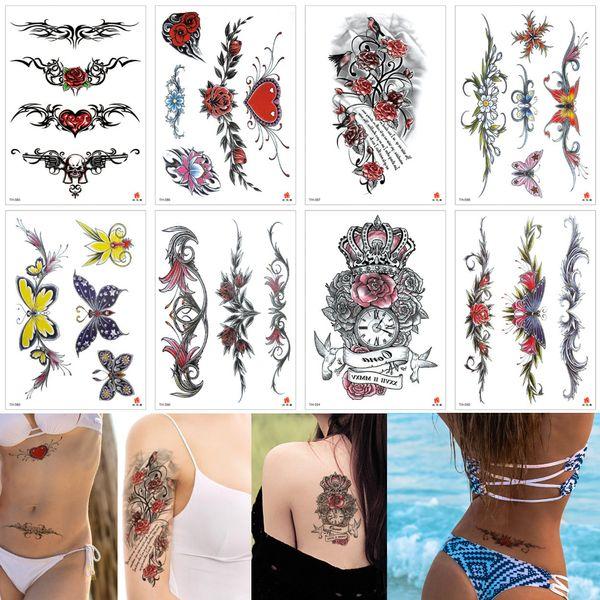Fashion Jewelry Bracelet Wrist Waist Chain Arm Temporary Tattoo Sticker Designs for Woman Heart Flower Butterfly Chest Body Art Decal Tattoo